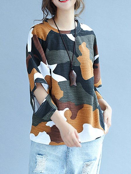 3/4 Sleeve Printed Crew Neck Casual T-Shirt