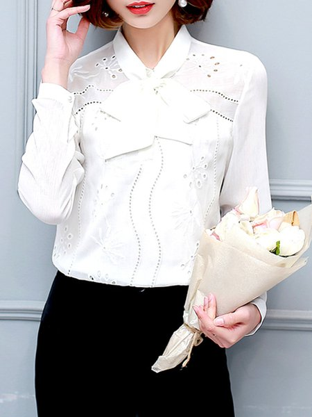 White Bow Embroidered Long Sleeve  Blouse