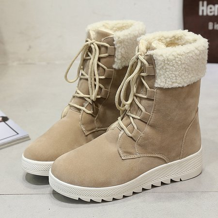 Khaki Suede Lace-Up Mid-Calf Women Boots
