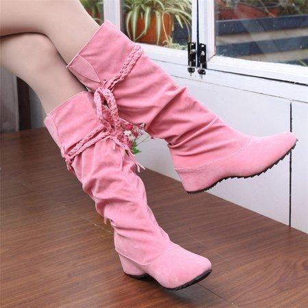 Round Toe Mid-Calf Women Slip-On Boots