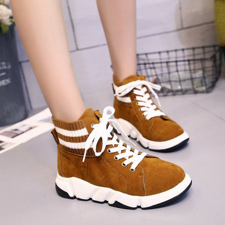 Brown Lace Up Women Platform Fashion Sneakers