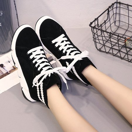 Black Lace Up Platform Women Fashion Sneakers