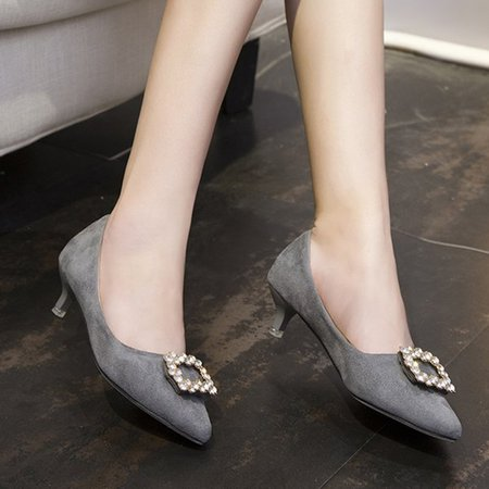 Gray Rhinestone Slip-On Women Suede Pumps