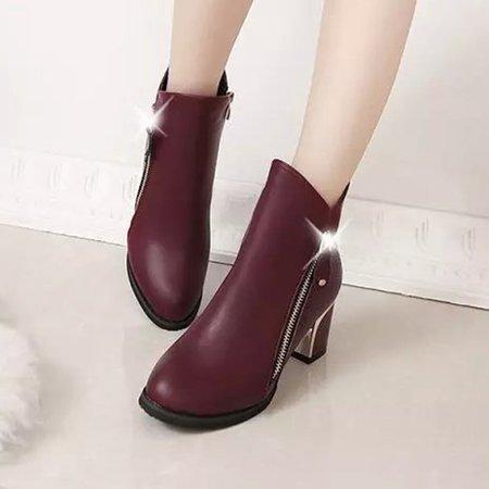 Burgundy Slip-On Zipper Ankle Women Boots