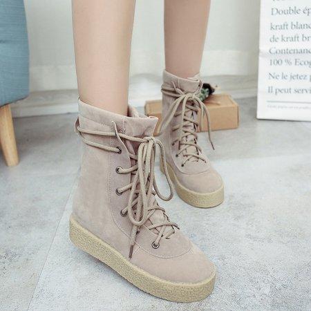 Lace Up Mid-Calf Suede Platform Women Boots