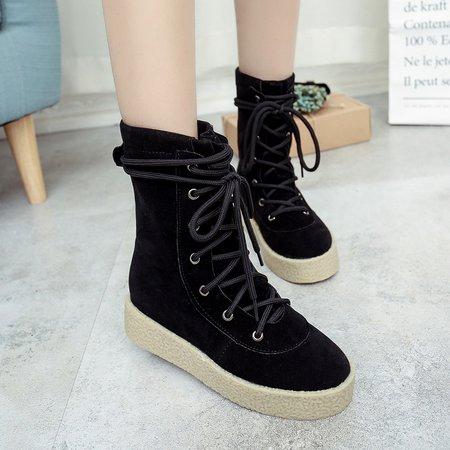 Black Mid-Calf Platform Women Suede Boots