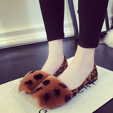 Brown Leopard Print Women Furry Flats