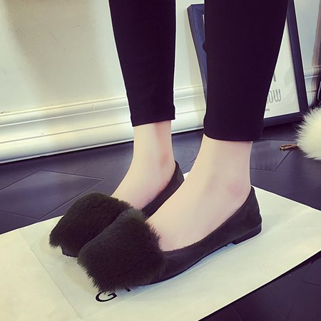 Dark Green Furry Women Slip-On Flats