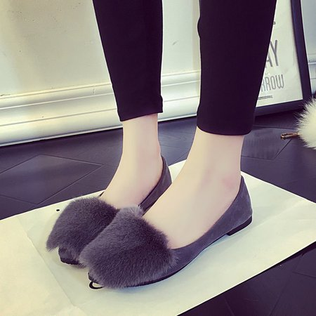 Casual Furry Slip-On Women Flats