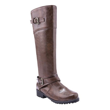 Buckle Women Mid-Calf Slip-On Boots