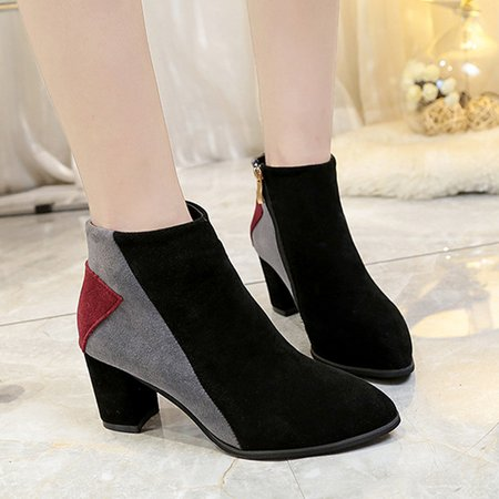 Gray Color-block Suede Women Ankle Boots