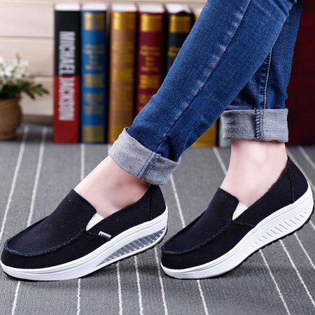 Black Canvas Women Slip-On Fashion Sneakers