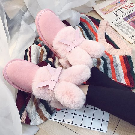 Bow Suede Ankle Fur Shearling Flat Slip-On Boots