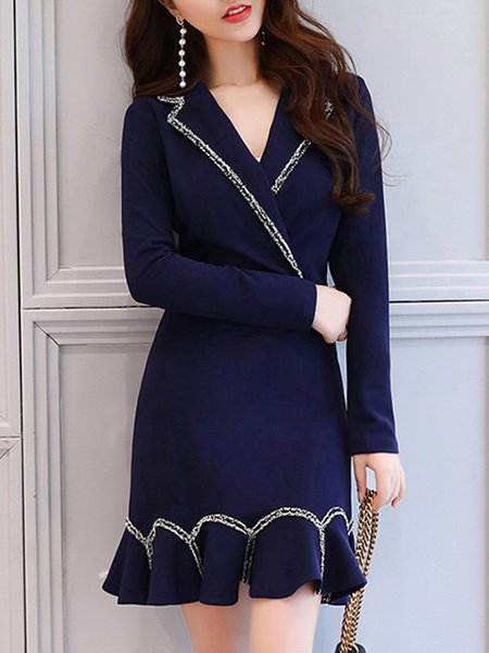 Long Sleeve Surplice Neck Cotton Elegant Mermaid Print Dress
