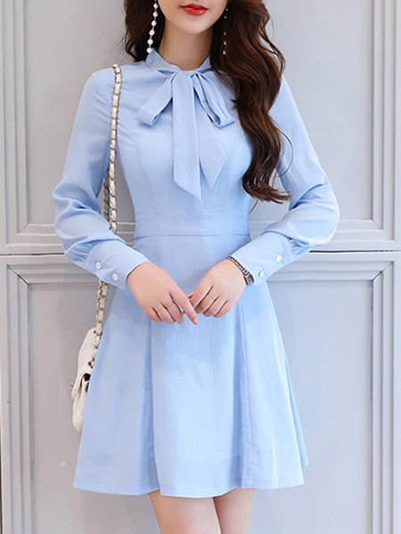 Sky Blue Bow Elegant A-line Plain Party Dress