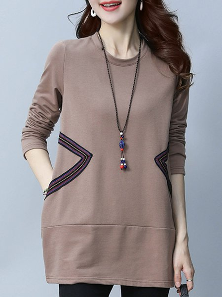 Plus Size Coffee Long Sleeve H-line Tunic Top