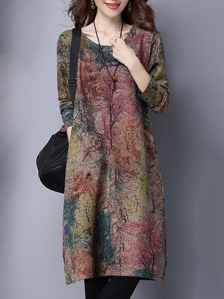 Multicolor Women Print Dress Crew Neck Shift Daytime Long Sleeve Abstract Dress