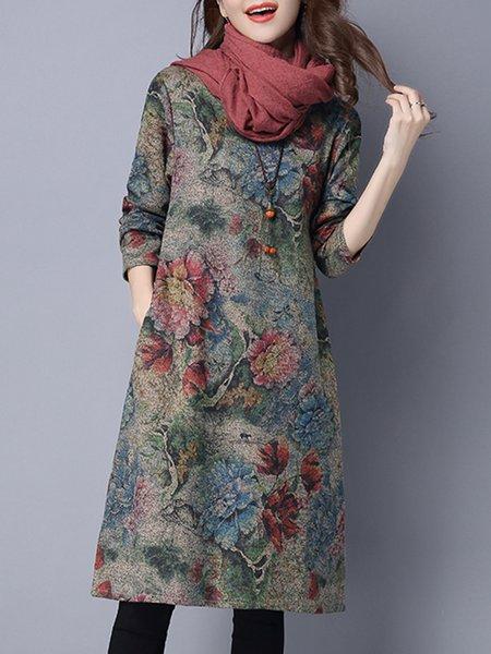 Multicolor Women Print Dress Crew Neck Shift Daytime Casual Floral Dress