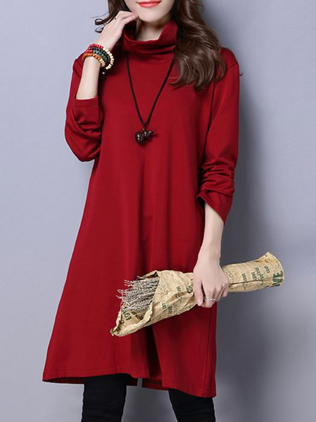 Long Sleeve H-line Casual Solid Turtle Neck Casual Dress