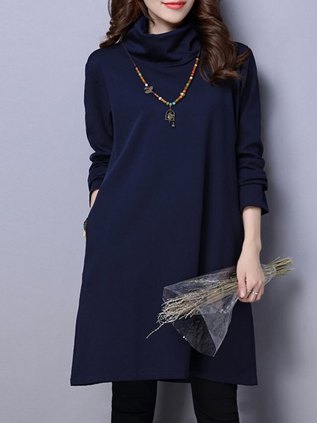 Navy Blue Long Sleeve Pockets Turtle Neck Cotton Casual Dress