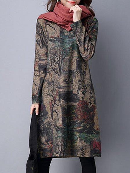 Casual H-line Long Sleeve Pockets Casual Dress