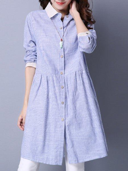 Blue Pockets Casual Shirt Collar Stripes Dress
