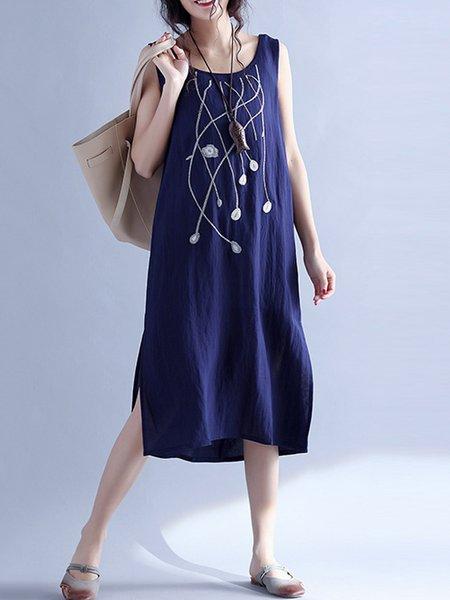 Women Casual Dress Crew Neck A-line Daily Sleeveless Linen Dress