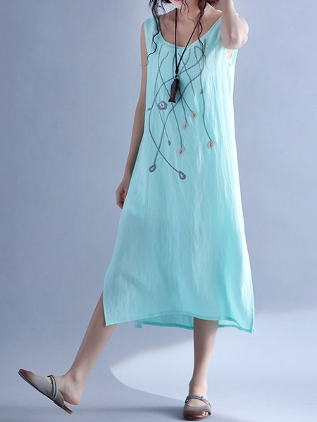 Sky Blue Floral Embroidered Slit A-line Casual Dress