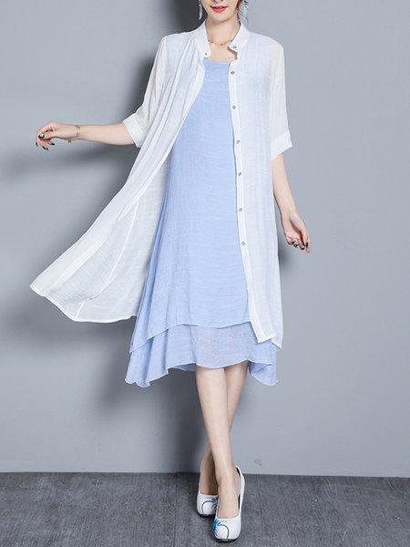 Sky Blue 3/4 Sleeve Two Piece Casual Dress