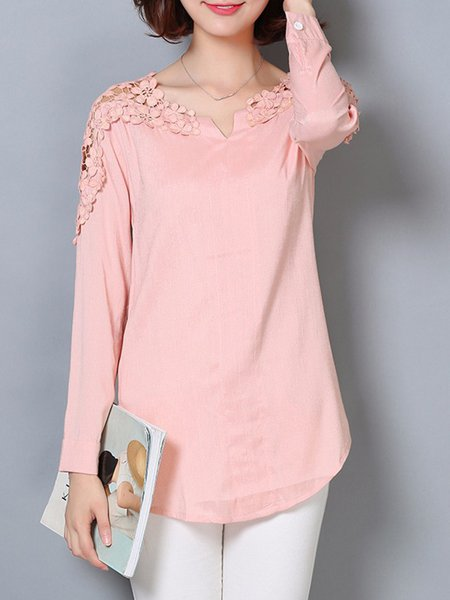 Long Sleeve A-line V Neck Casual Top