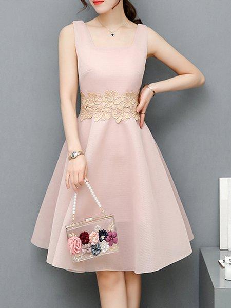 Pink Crocheted Paneled Sleeveless Party Dress