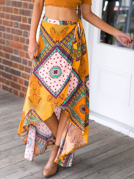 Yellow Boho Tribal Asymmetrical Skirt