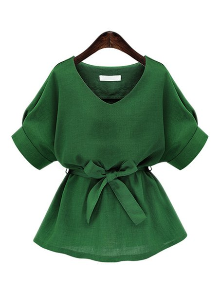 Green Casual V Neck Tunic Top with Belt