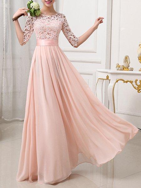 Pink Women Prom Dress Crew Neck Going out 3/4 Sleeve Chiffon Dress