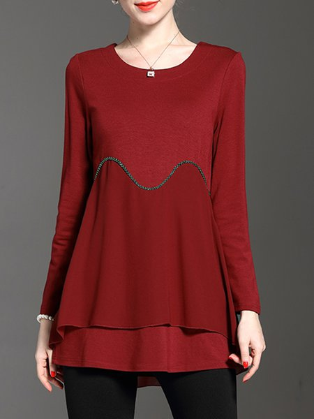 Red Plain Casual Crew Neck Tiered  Blouse
