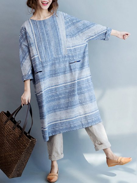Sky Blue Stripes Crew Neck Buttoned Long Sleeve Dress