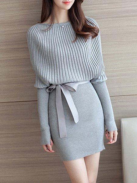 Gray Knitted Crew Neck Sheath Long Sleeve Dress