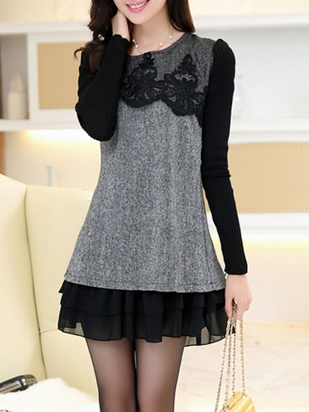 Gray Women Casual Dress Crew Neck A-line Daily Long Sleeve Casual Dress