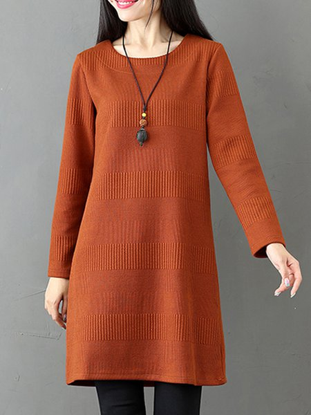 Solid Crew Neck Knitted Long Sleeve Dress