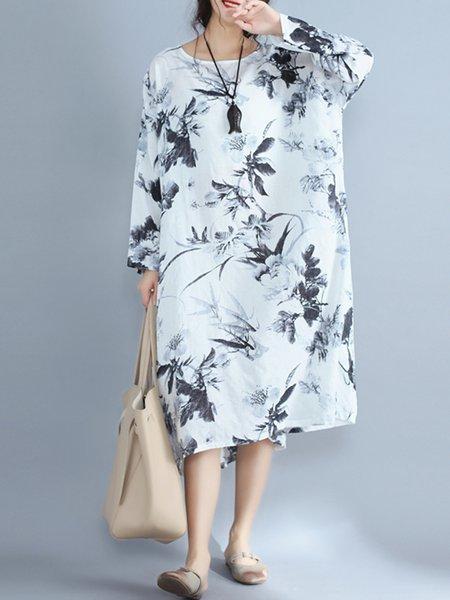 Women Print Dress Crew Neck Shift Daytime Casual Pockets Dress