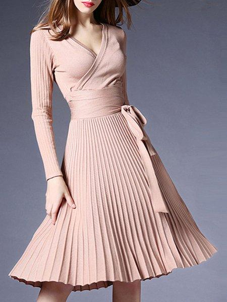 Women Elegant Dress Swing Long Sleeve Pleated Dress