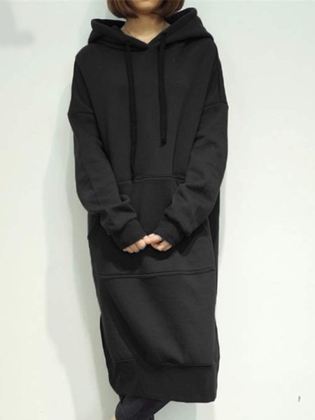 Black Pocket Casual Long Sleeve  Hoodie