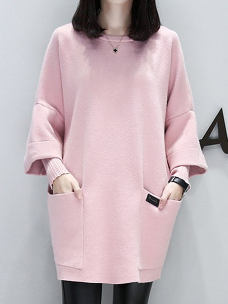 Pink Pockets Crew Neck Casual  Dress