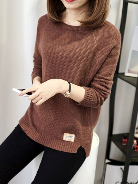 Crew Neck Knitted Long Sleeve Sweater