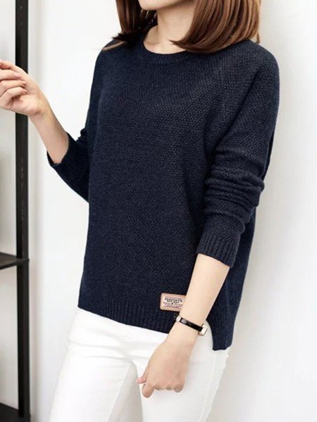 Casual Crew Neck Knitted Long Sleeve Sweater