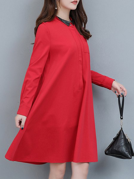 red long sleeve casual stand collar plus size dress