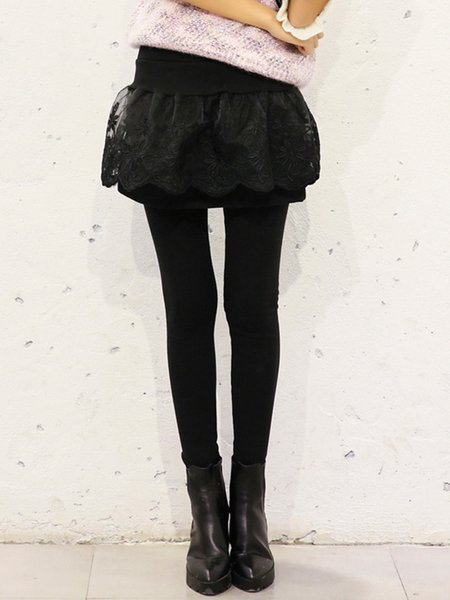 Black Casual Sheath Paneled Guipure Lace Leggings