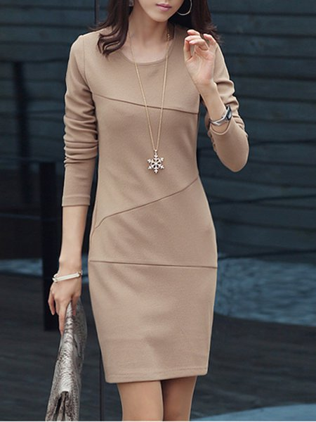 Crew Neck Apricot Women Casual Dress Sheath Daily Long Sleeve Casual Dress