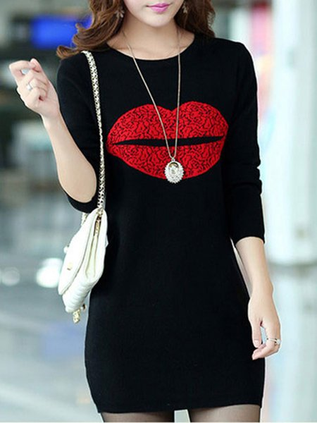 Lips Printed Crew Neck Long Sleeve  Tunic