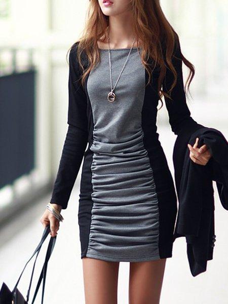 Gray Women Casual Dress Crew Neck Daily Long Sleeve Paneled Dress